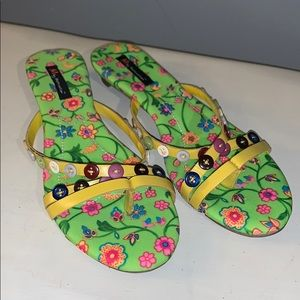 Shoes - Neon green button sandals woman's 9